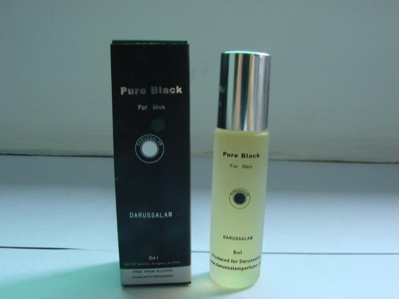 PURE BLACK 8ML PERFUME OIL FOR MEN. ALCOHOL FREE
